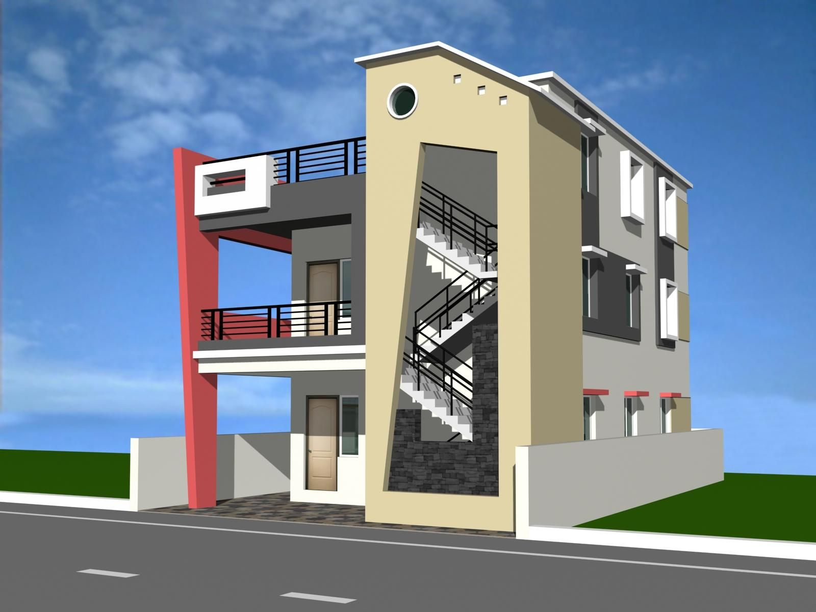 Residential building elevation designs google search for House building front design