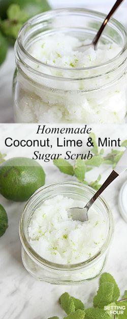 DIY Lime Mint Sugar Scrub for Skin - Gift Idea #sugarscrubrecipe