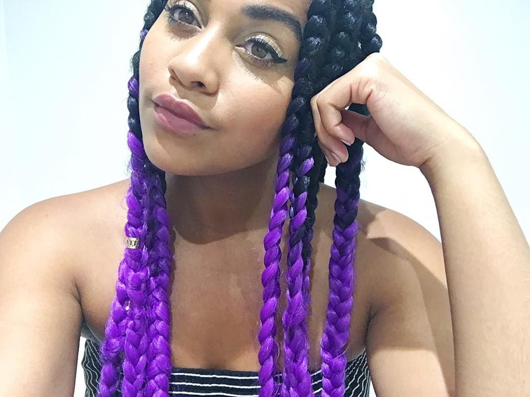 Elaisha Jade purple braid extensions protective style.