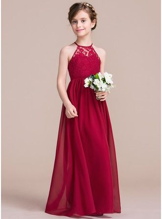 e792bcfd7ee A-Line Princess Scoop Neck Floor-length Chiffon Lace Sleeveless Flower Girl  Dress Flower Girl Dress