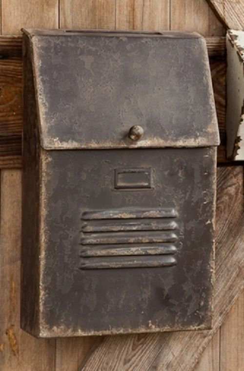 Cottage Style Slot House Mailbox Metal Antique Aged