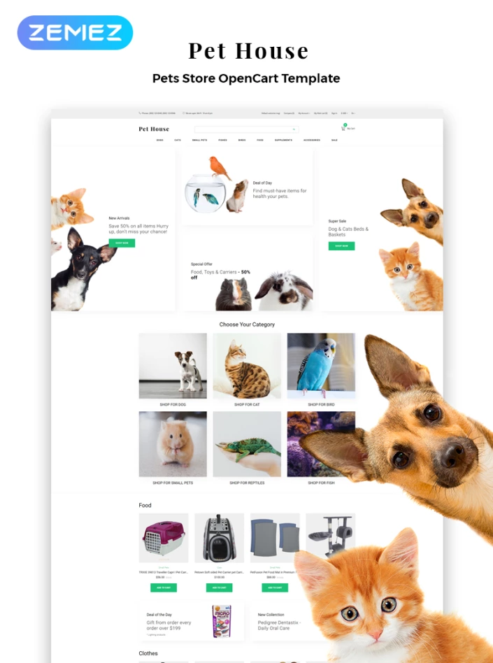 Pet House Petshop Ecommerce Modern Opencart Template 82748 Pets Pet Websites Opencart Templates