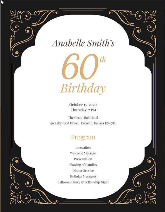 60th Birthday Program Template In 2019 Birthday Template
