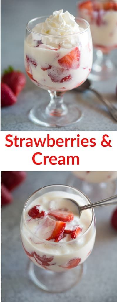 Fresas con Crema (AKA strawberries and cream) is a traditional Mexican dessert recipe made with sweetened condensed milk, whipping cream, sour cream, and strawberries.