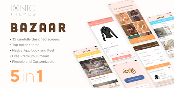 BAZAAR Ionic Template (free optional