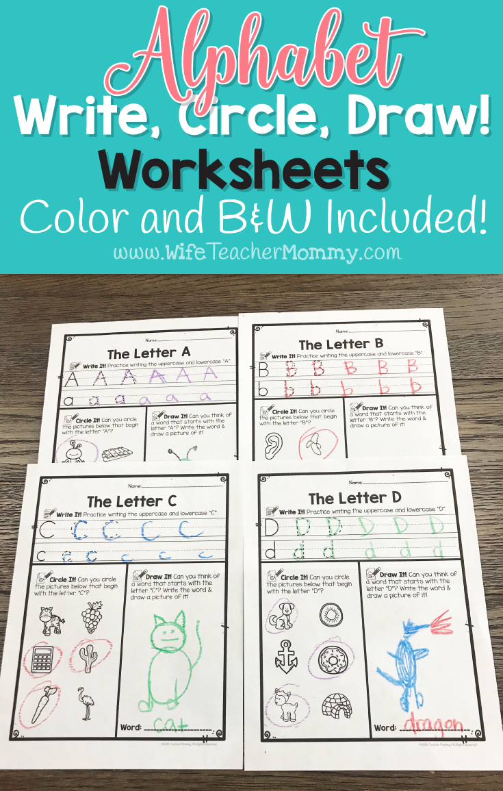 Alphabet Worksheets: Write, Circle, Draw ABC Letter Writing Practice ...