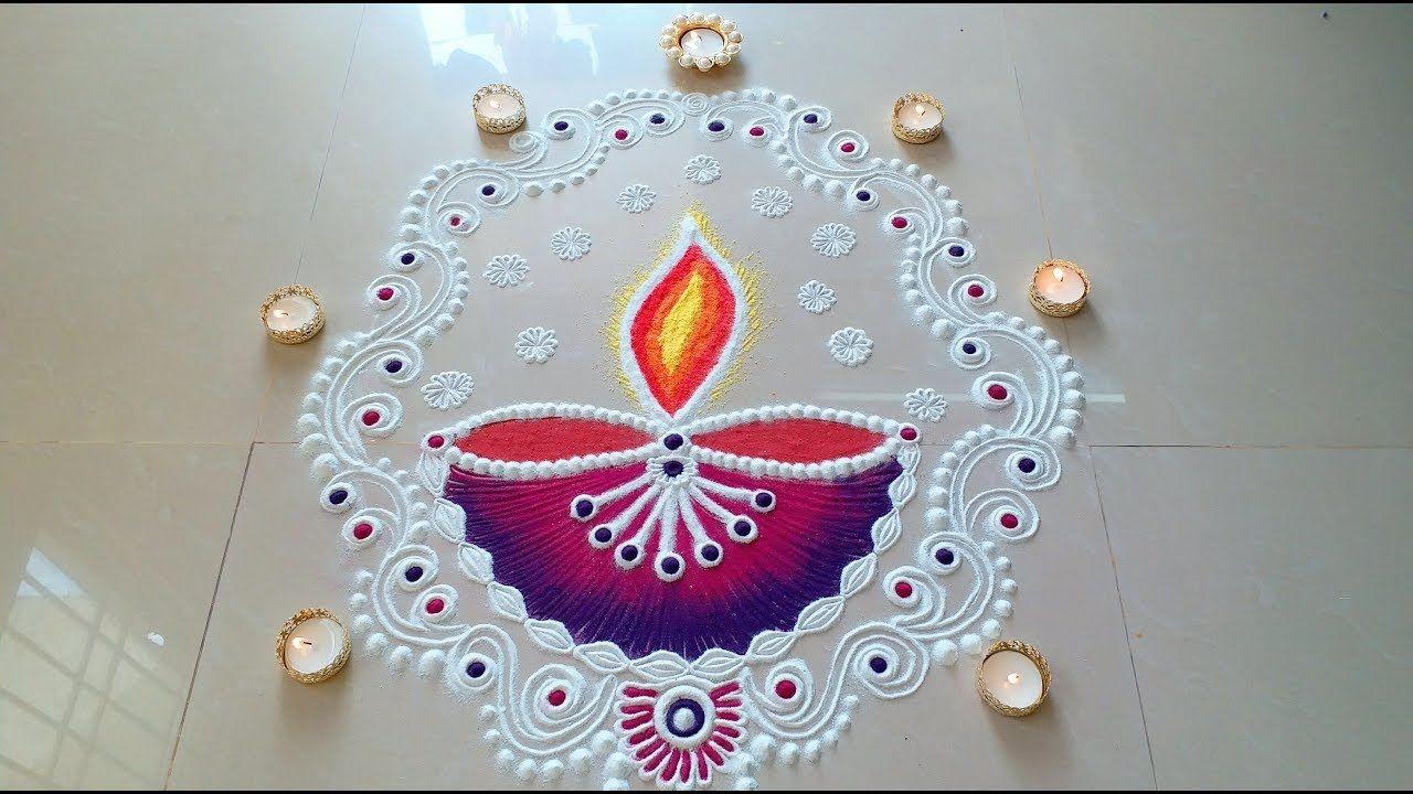 New DIYA Rangoli Designs With Colours For DIWALI