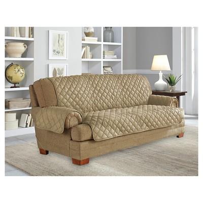 Camel Ultra Microsuede Waterproof Furniture Protector Sofa Slipcover - Serta
