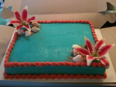 Teal and Coral Bridal Shower Cake By ms_mba on CakeCentral.com