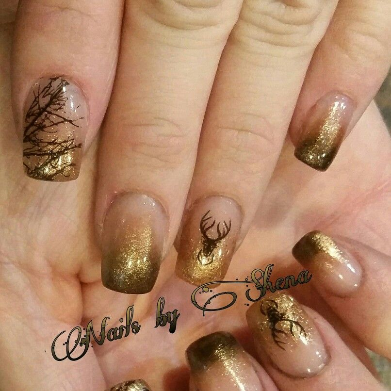 Hunting Inspired Nails Freehand Elk Antlers And Aspen Trees Done By Buttercup013 Me Buttercup013 Camo Nails Deer Nails Hunting Nails
