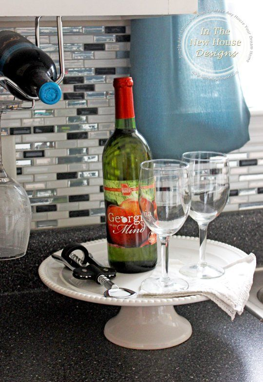 Turn a simple cake stand into a perfect little wine bar