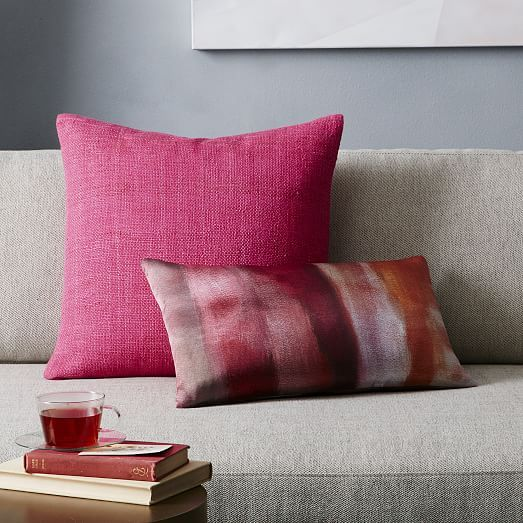 Silk Hand-Loomed Pillow Cover - Shockwave | west elm | Pink ...