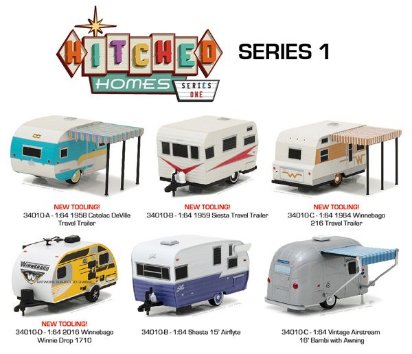34010 Case Greenlight Hitched Homes Series 1 6 Piece Vintage Trailers Diecast Diecast Models