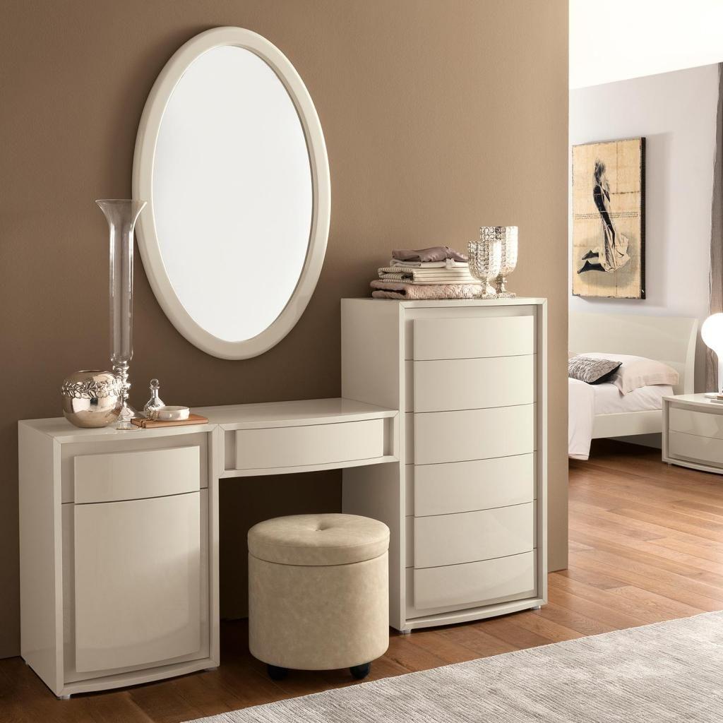 Valdina Cream High Gloss Maxi Modular Dressing Table Mirror Stool Set