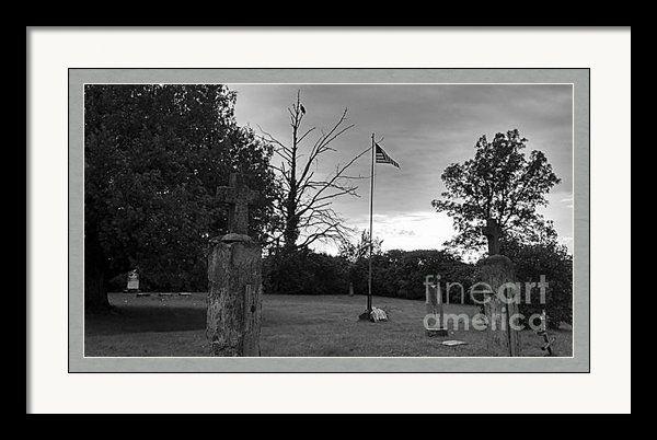 Eagle Keeping Watch Over Graveyard - Black And White Framed Print By Stephanie Forrer-Harbridge