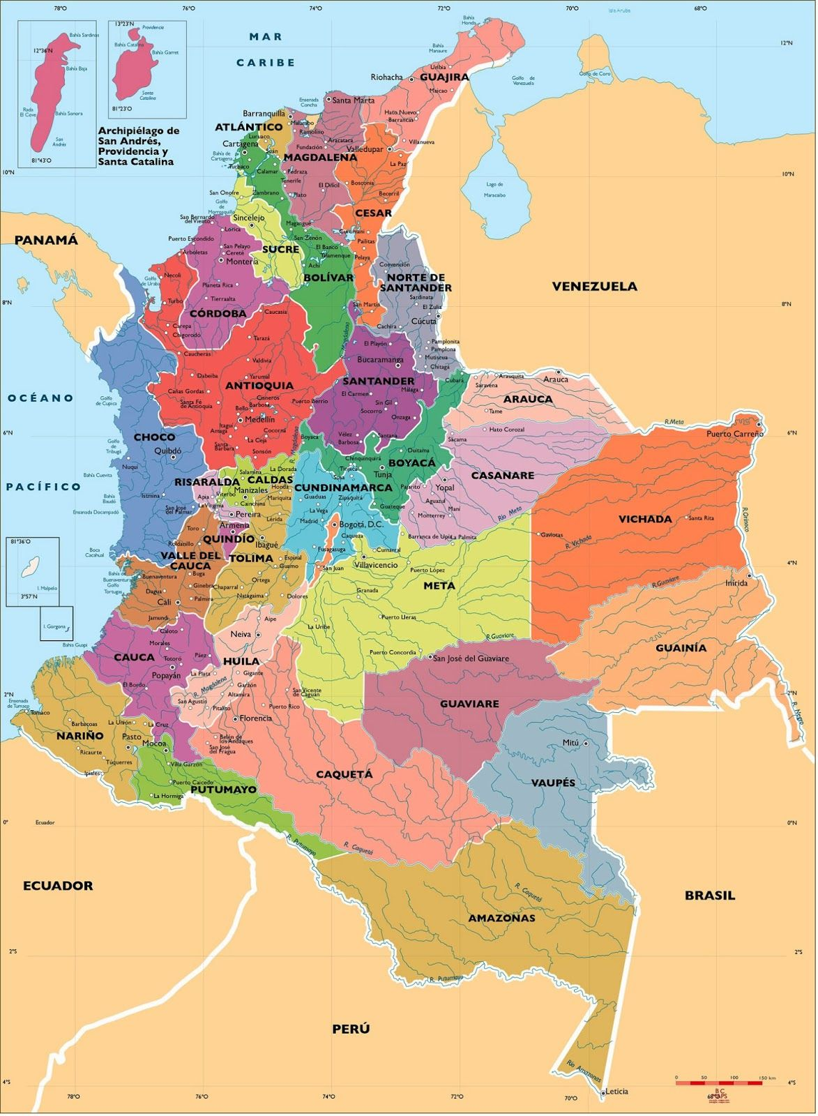 COLOMBIAPOLITICALVECTORMAPjpg 11731600 Colombia Pinterest
