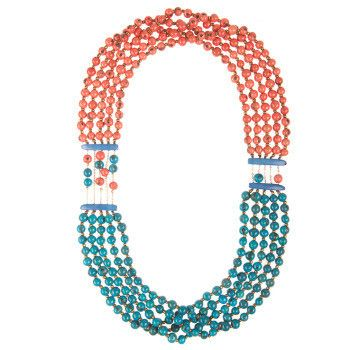 Garden Party Necklace - Turquoise Coral