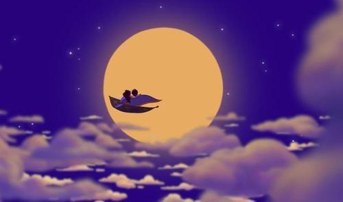 Aladdin and Jasmine on a Magic Carpet ride.