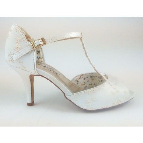 Winnie By The Perfect Bridal Shoe Company Ivory Vintage Lace T Bar Wedding Or Occasion Shoes Elegant Steps Exclusive