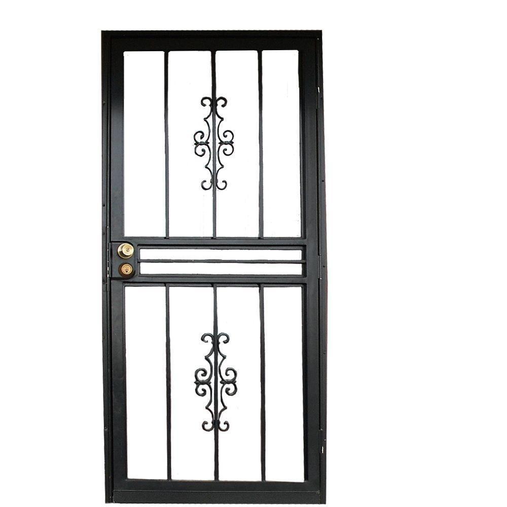 Grisham 30 In X 80 In 501 Series Genesis Steel Black Prehung Security Door 50151 The Home Depot Steel Security Doors Security Door Security Screen Door