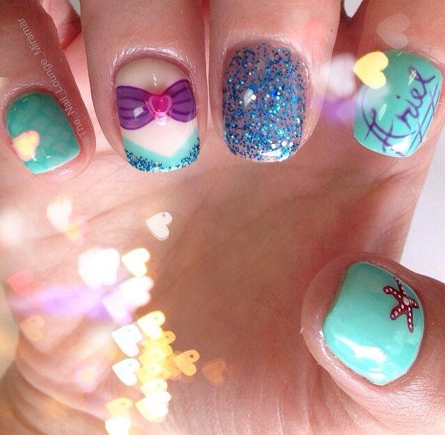 Mermaid Nail Art Adorable: The Little Mermaid Nail Art.