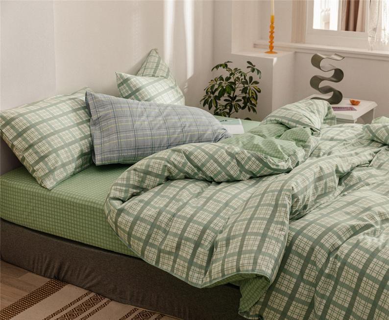 Mint Green Lattice Duvet Cover Set 100 Cotton Comforter Cover Etsy Green Bedding Geometric Bedding Room Ideas Bedroom