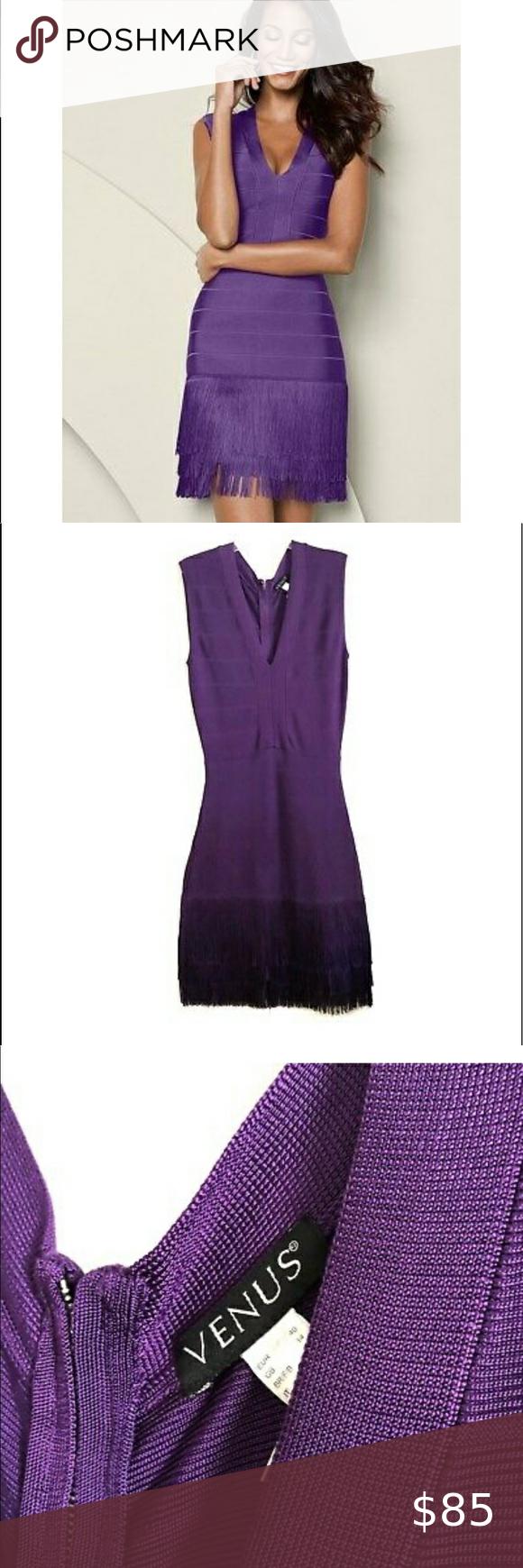 Venus Dark Purple Stretch Knit Fringe V Neck Dress V Neck Dress Navy Blue Midi Dress Blue Sleeveless Dress [ 1740 x 580 Pixel ]
