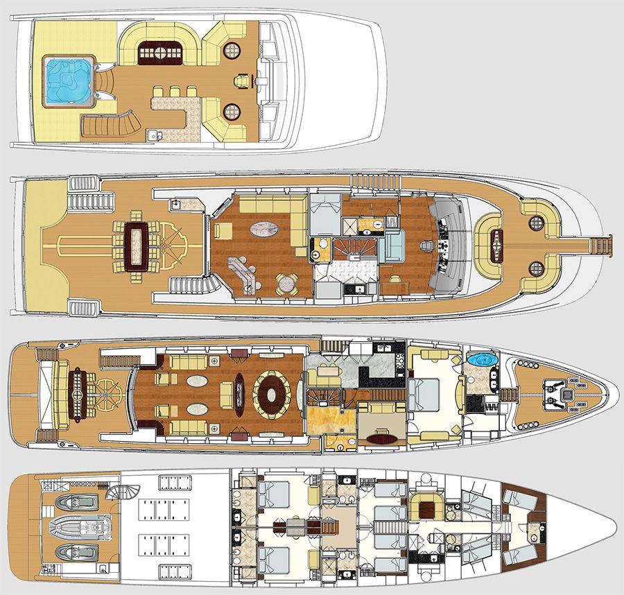 Majesty 125 Layout Sea Crafts Water Yacht Brands Deck Plans Super