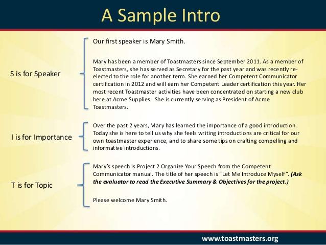Introduction speech sample Introduce a