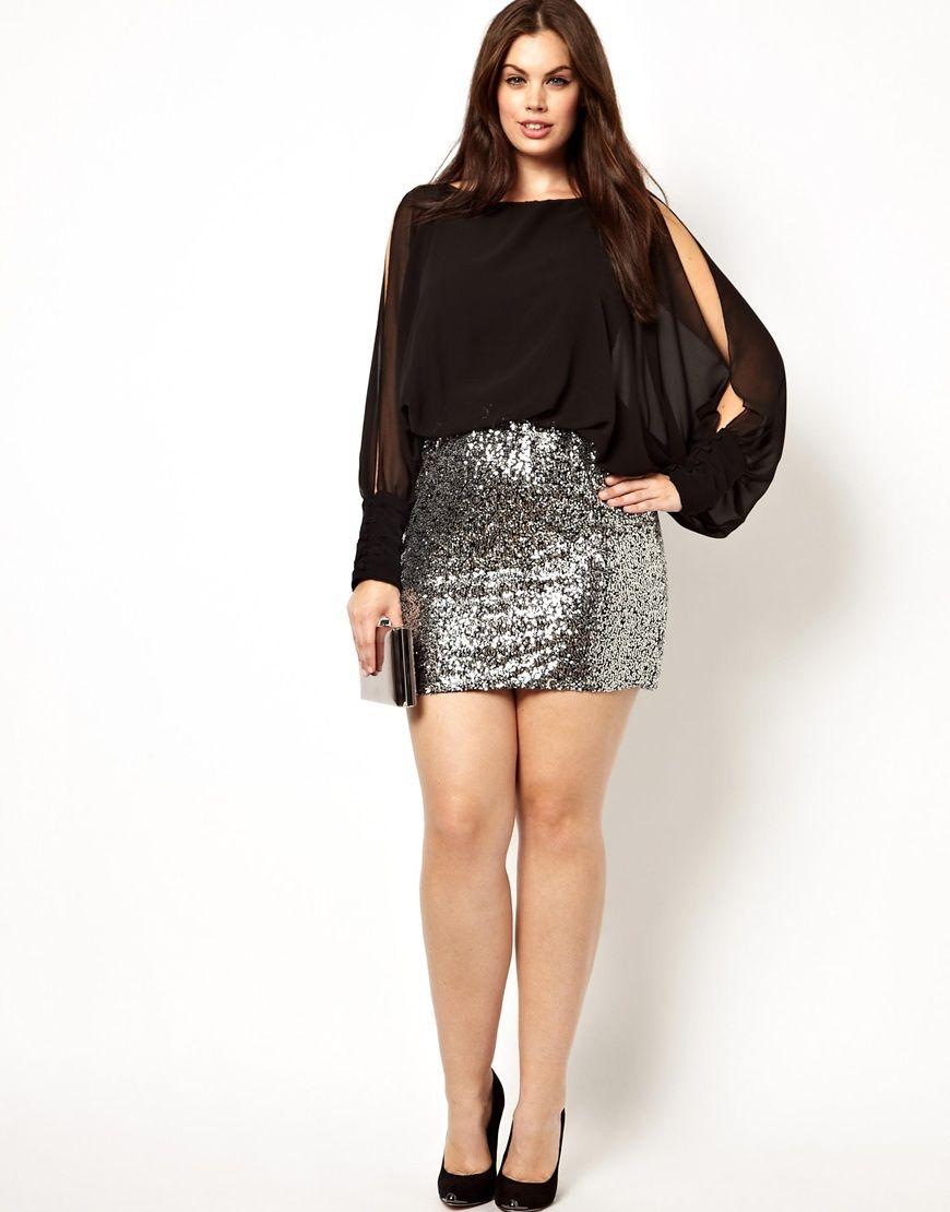 Club L Plus Size Split Sleeve Dress with Sequin Skirt
