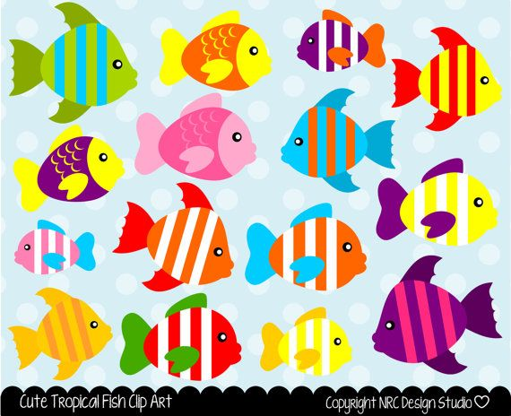 Sea Creatures Clip Art Cute Tropical Fish By NRCDesignStudio 350