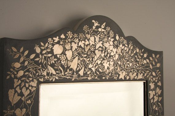 Gilded Wall Mirror Hand decorated with Caplain by thehankyheiress