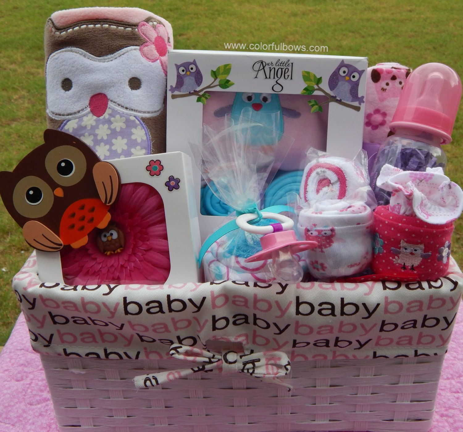 Baby Owl Baby Shower Theme Premium Plus Baby Girl Gift Basket / READY TO SHIP / Forest Baby