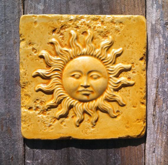 6 Square Rustic Sunface Wall Plaque Hanging by SantaCruzStoneworks, $9.95