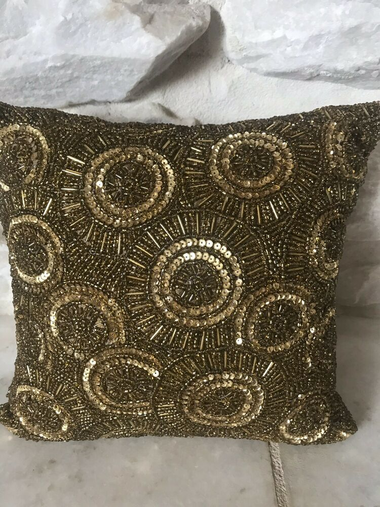 Small Gold Beaded Decorative Pillow From Pier 1 Pier1 Beaded