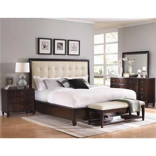 Westwood King-Size Contemporary Platform Bed With Cream