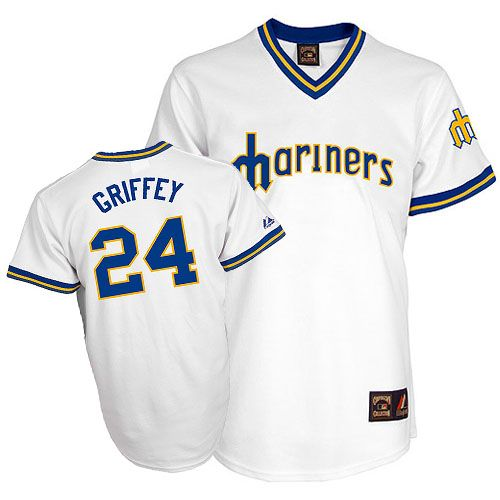huge discount 31668 17615 Seattle Mariners #24 Ken Griffey Jr. Athletic Throwback ...