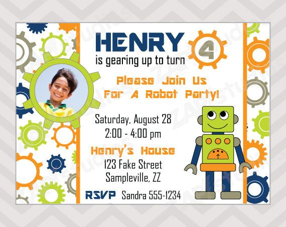 Robot and gears birthday party invitation printable robot birthday robot and gears birthday party invitation printable robot birthday invitation by zapparty on etsy filmwisefo Images
