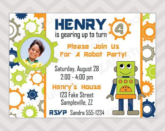robot birthday invitations