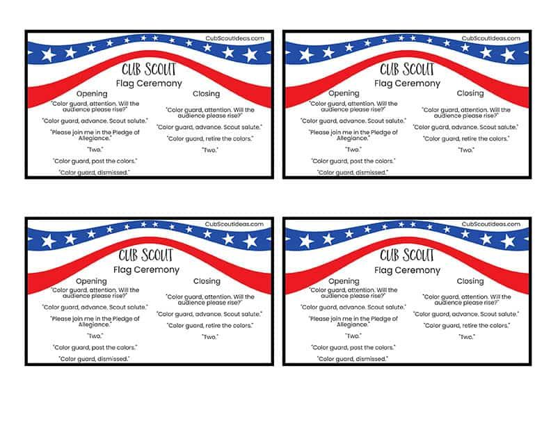 how to conduct a cub scout flag ceremony free printable. Black Bedroom Furniture Sets. Home Design Ideas
