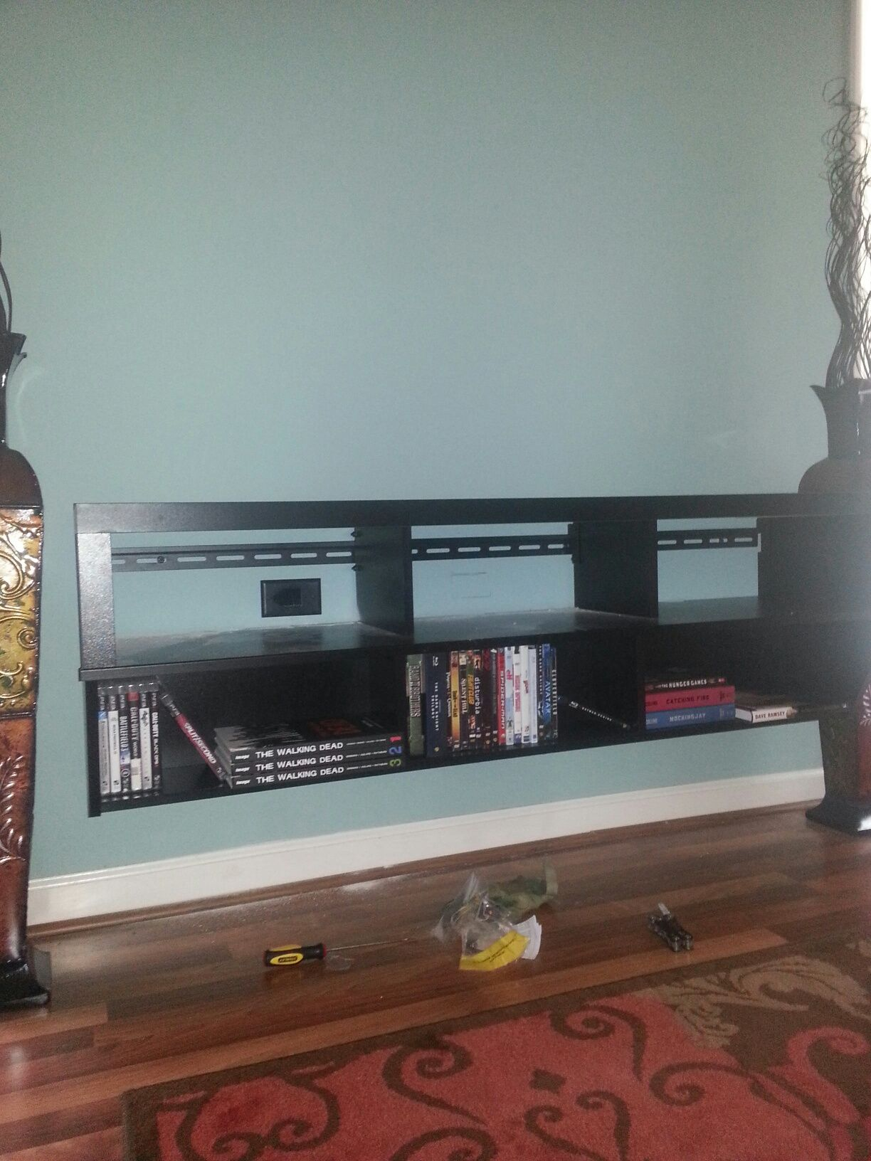 Extravagant Black Wooden Floating Entertainment Center with Storage