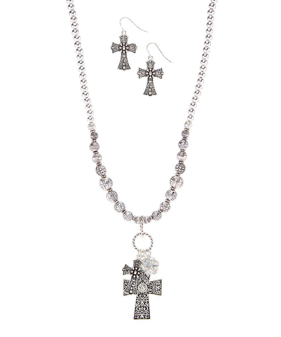 Blazin roxx silvertone double cross pendant necklace u drop earrings
