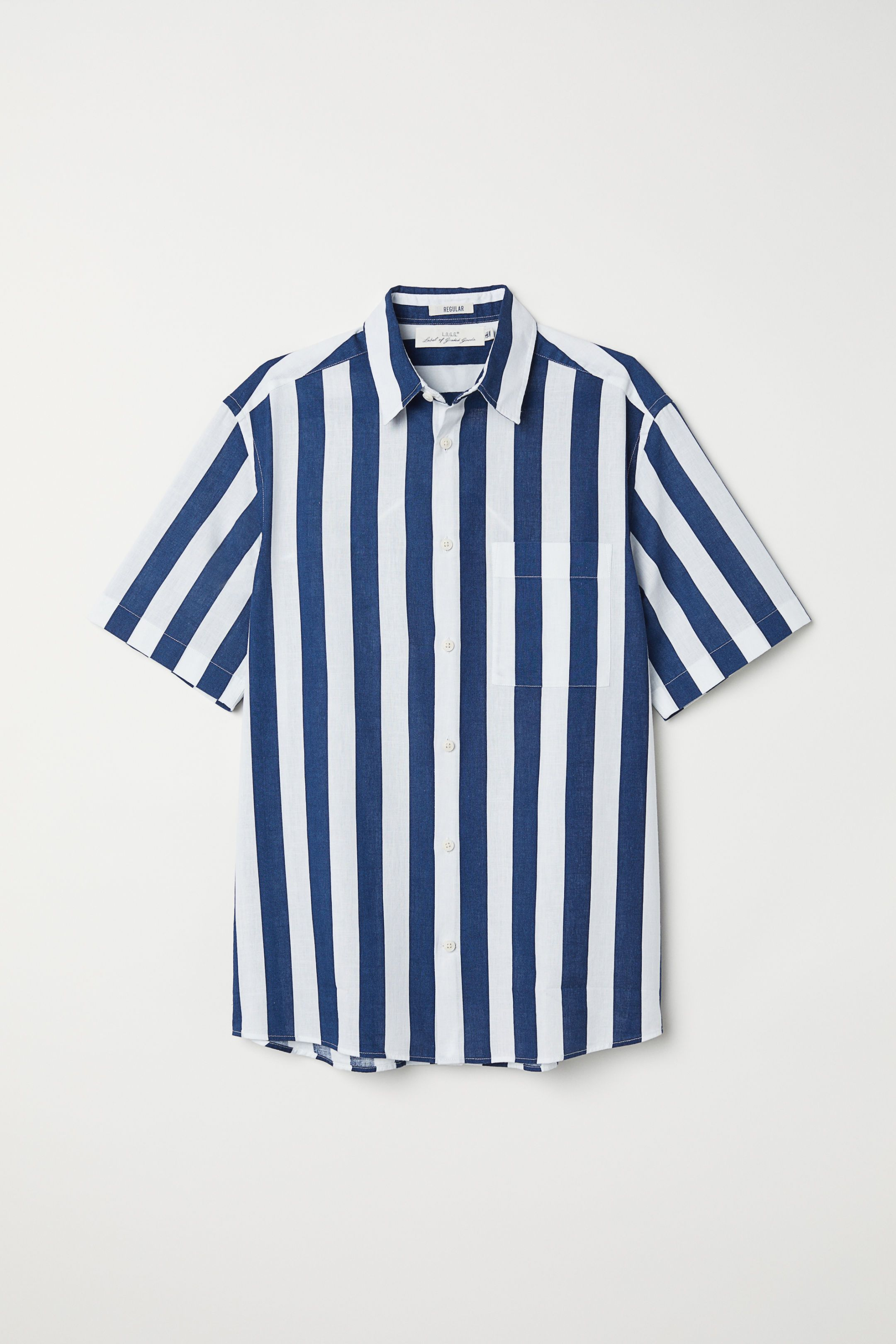 Camisa de algodón manga corta Azul oscuro HOMBRE | H&M ES