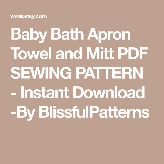 Baby Bath Apron Towel And Mitt PDF SEWING PATTERN