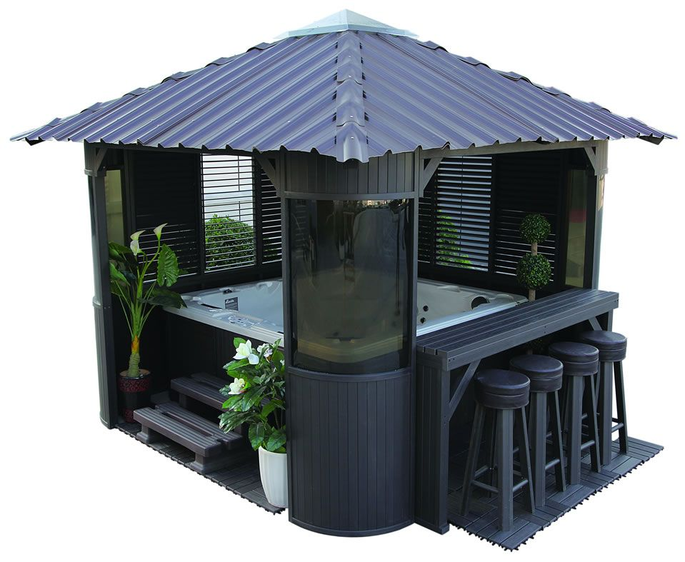 The fraser synthetic gazebo completes your backyard home for Diy hot tub gazebo
