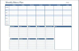 Weekly Menu Planner Grocery List Excel In Life Templates