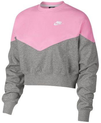 Nike Fleece Colorblocked Cropped Sweatshirt Grey Heather