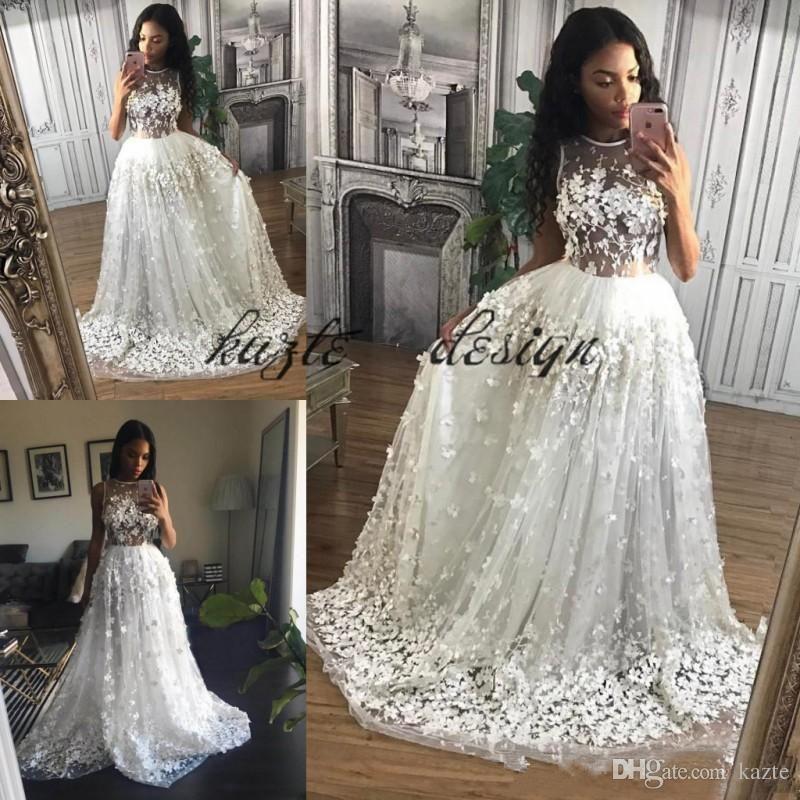 2018 Modest Fl Erfly Holiday Wedding Dresses Illusion Bodyice Jewel Lurelly Beach Country Garden Bridal Gown Mermaid Dress Long