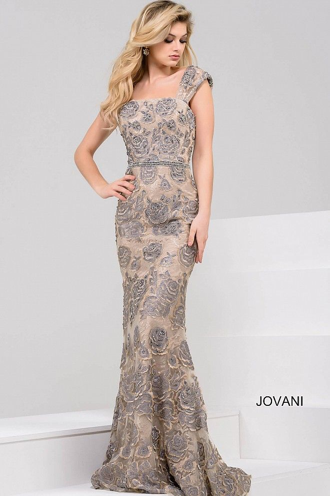 539d2a9fe4dc Beautiful floor length form fitting grey beaded lace evening gown with nude  underlay with embellished belt features cap sleeves and straight neckline.