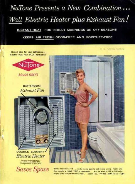 1960 Nutone Electric Wall Heater And Exhaust Fan